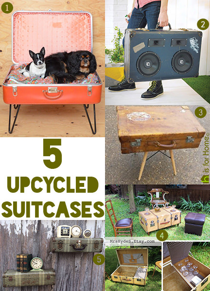 selection of vintage, upcycled suitcases