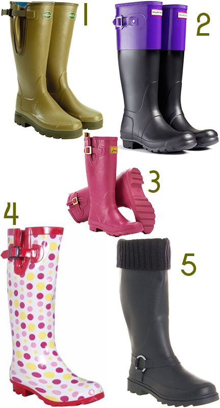 selection of 5 pairs of wellies