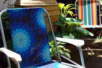 funky vintage armchairs in our sunny garden