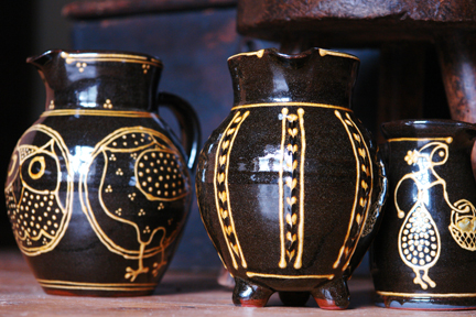 trio of handmade slipware jugs by Hannah McAndrew