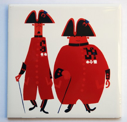 vintage Kenneth Townsend tile featuring a pair of Chelsea Pensioners