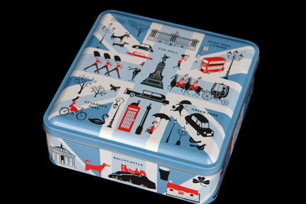 limited edition Marks and Spencer biscuit tin produced to commemorate the 2012 London Olympic Games decorated with illustrations of London and other British landmarks