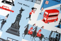 detail from a limited edition Marks and Spencer biscuit tin produced to commemorate the 2012 London Olympic Games showing an illustrations of the Mall