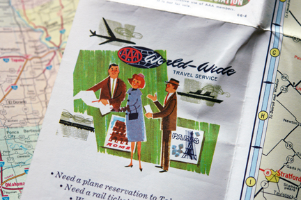 detail of a vintage travel map from the 1960s