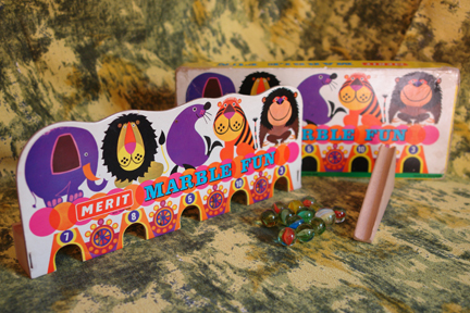 "vintage Merit ""Marble Fun"" game with illustrations by Kenneth Townsend from his Menagerie range"