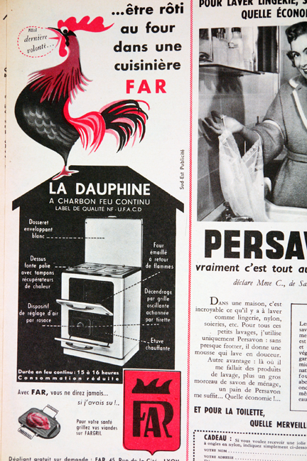 "Advertisement for Concord washing machines from a vintage 1950s French ""L'Echo de la Mode"" magazine"