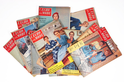 "pile of vintage 1950s French ""L'Echo de la Mode"" magazines"