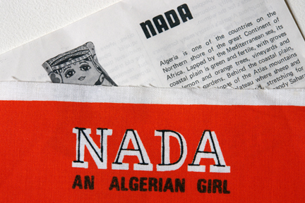 "detail from a vintage cloth pattern designed by Belinda Lyons of a doll called ""Nada"", an Algerian girl"