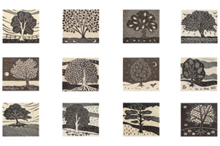 collection of greeting cards by artist Gail Kelly featuring British trees, all taken from original linocuts hand-printed onto Irish linen