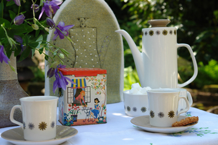 vintage coffee set with cafetiere cosy handmade and embroidered by Janie (Knitted Textiles)