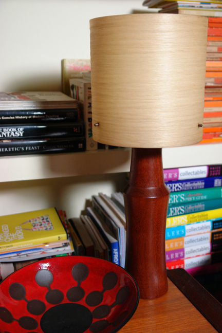 vintage teak lamp base with fibreglass shade