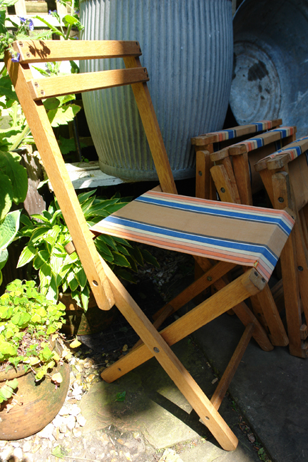 set of four wood and canvas camp chairs from a selection of vintage garden items