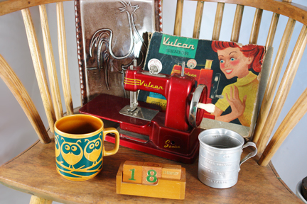 new items at H is for Home, May 2011 including vintage child's sewing machine in original box, Hornsea pottery owl mug and aluminium measuring cup