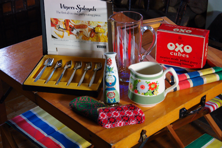 selection of vintage items sourced in August 2011 including a vintage carry picnic set, pair of Welsh wool purses, Oxo tin, Viners Splayds and Figgjo Flint bud vase