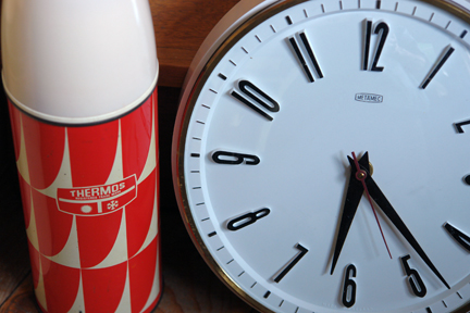 vintage op art, red & white Thermos flask and vintage black & white Metamec clock