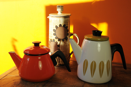 selection of vintage items soon to be available from H is for Home including Briglin Pottery coffee pot, Cathrineholm coffee pot and orange enamel coffee pot