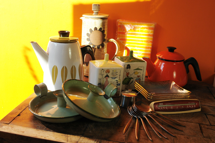 selection of vintage items soon to be available from H is for Home including Briglin Pottery coffee pot, Cathrineholm coffee pot, orange enamel coffee pot, vintage Vera pillow cases, 4 Chance Glass pin dishes, pair of green enamel candleholders, Robert Welch for Old Hall stainless steel mustard pot & spoon, set of 6 Wostenholm stainless steel dessert spoons, Smiths desktop thermometer and pair of Italian Ceramica Di Milano handpainted lidded pots decorated with female figures