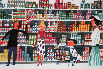 "illustration from Miroslav Sasek's vintage children's book, ""This is... New York"" showing people in the aisle of a grocery store"