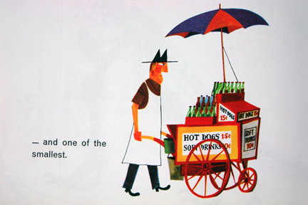 "illustration from Miroslav Sasek's vintage children's book, ""This is... New York"" showing a street vendor selling hot dogs and soft drinks"