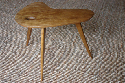 vintage 1950s palette topped teak table with splayed legs