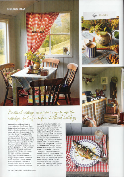 October 2012 Country Living magazine cutting