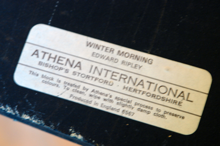 "back of ""Winter Morning"" print by Edward Ripley showing its Athena label"