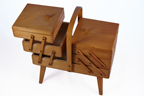 vintage wooden sewing box with three tiers