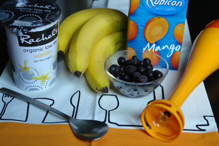 ingredients and equipment to make a mixed fruit smoothie