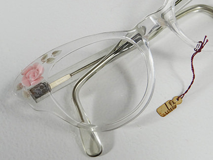 vintage clear 1950s spectacle frames with pink rose motif