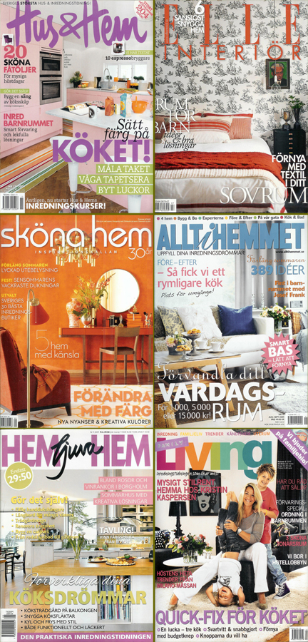 Mosaic of contemporary Swedish interior decoration magazine covers