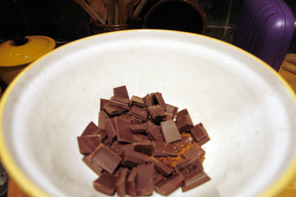 bowl of broken dark chocolate pieces and coffee granules
