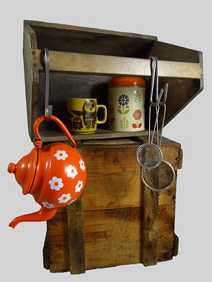 vintage wooden toolbox upcycled into tea making storage