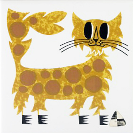 vintage Kenneth Townsend designed tile of a cat from the Menagerie series