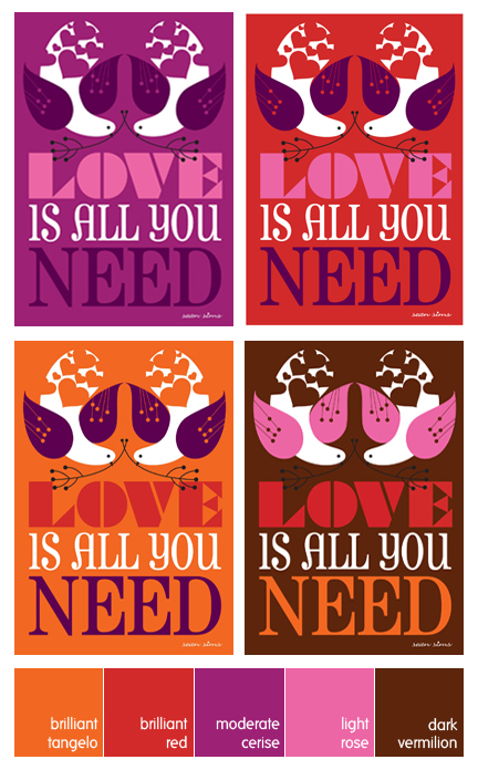 "quartet of ""All you need is Love"" posters designed by Sean Sims"