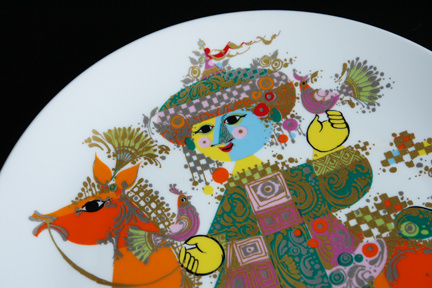 "detail from a ""1001 Nights"" porcelain charger designed by Bjørn Wiinblad for his Rosenthal Studio Line"