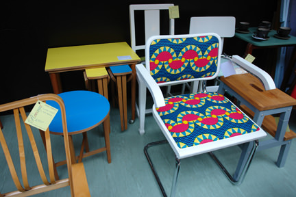 stall selling vintage chairs painted & reupholstered in vintage fabric