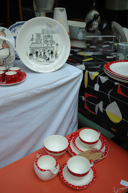 collection of vintage Parisienne and Red Domino pottery