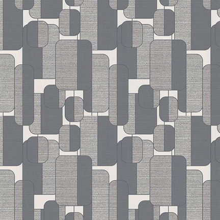 grey retro shape patterned wallpaper