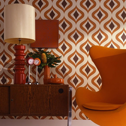 retro op art wallpapered room