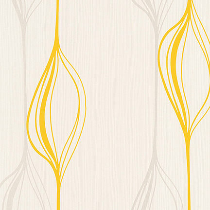 yellow retro shape patterned wallpaper