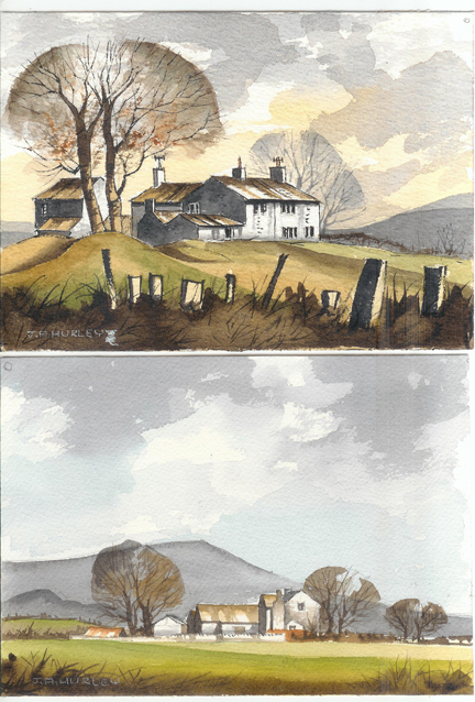 "pair of small watercolours depicting ""Knowl Top Farm near Pots & Pans, Saddleworth"" (top) and ""Farm, Clitheroe - Mitton Road - Longridge Fell in background"" (below)"