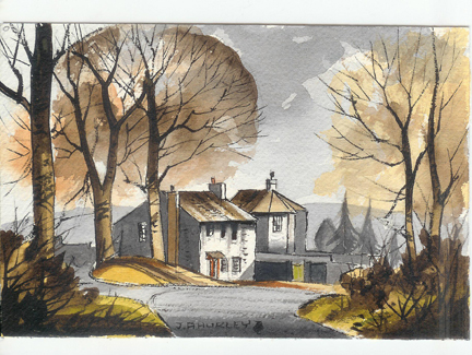 "small watercolour painting entitled ""Houses at Mitton, Ribble Valley"" by J A Hurley"