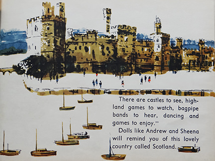 vintage World Dolls Series Scotland children's book with illustration of a castle