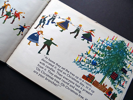 illustration of figures dancing around a giant Christmas tree