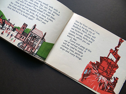 illustration of a metal smelter in Sheffield from the World Dolls Series, England | H is for Home