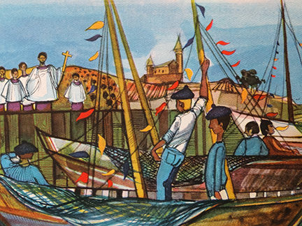 illustration of priests standing on the harbour and fishermen in boats from the France edition in the World Dolls Series of children's books