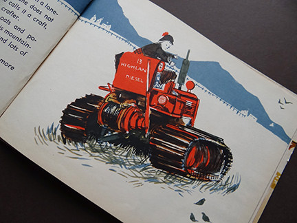 vintage World Dolls Series Scotland children's book with illustration of a red tractor