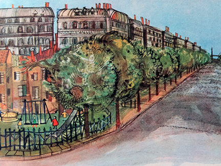 illustration of a tree-lined avenue from the France edition in the World Dolls Series of children's books