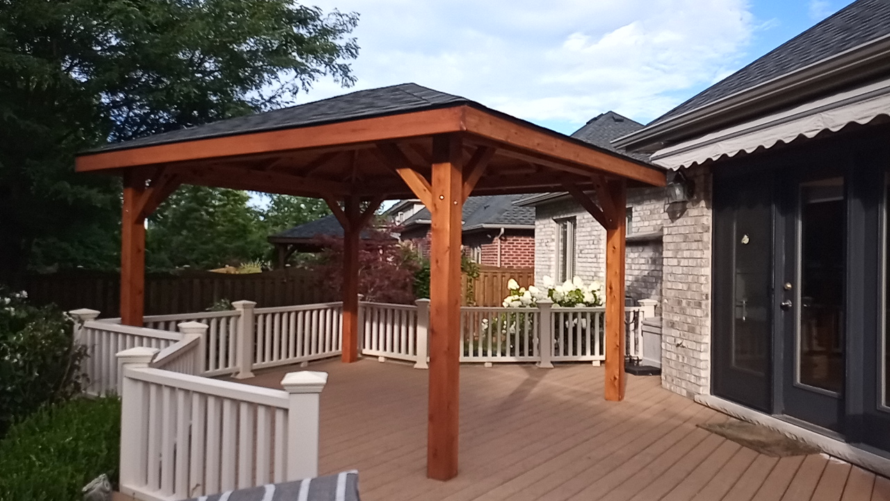 cedar pavilions with hip roofs
