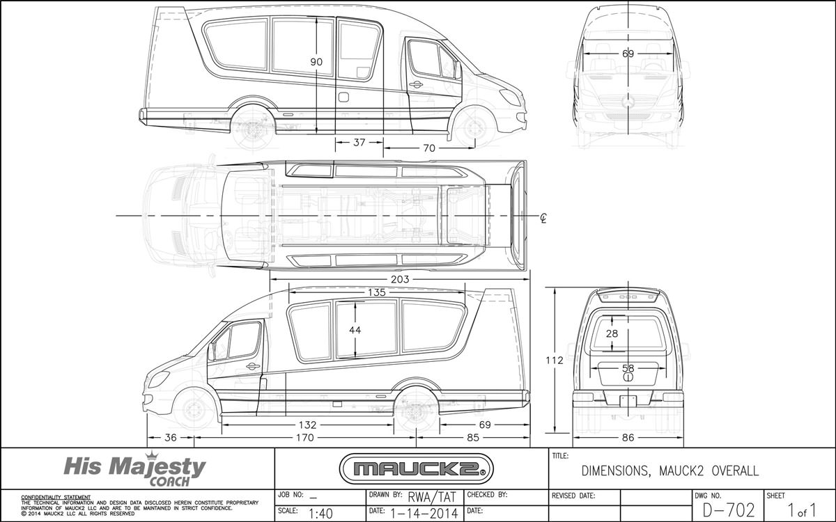 Dimensions of Luxury Mauck2 Sprinter Van Compared